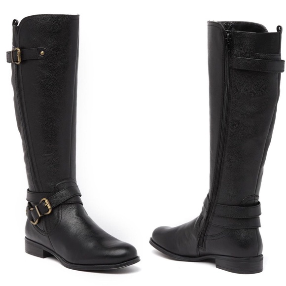 NATURALIZER Boots Black June Knee High Riding 6.5